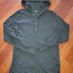 Gap hooded long sleeve knit top gray mens M